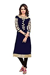Lovely Look Latest Navy Blue Embroidered Kurti