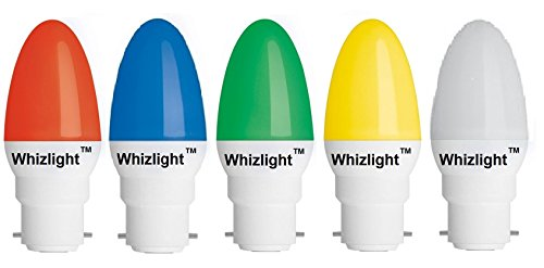 Whizlight-Ledz-Ping-Pong-0.5W-Night-Candle-LED-Bulbs-(Multicolor,-Pack-of-5)