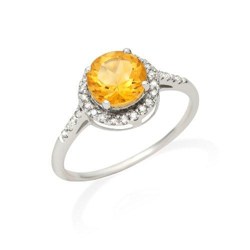 Miore Jm021R11W 9Ct White Gold Ladies Round Citrine Stone & Diamond Ring