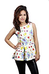Fadjuice Women's Peplum Top (Fj44115S-Extra Small_Yellow Red Green Blue Off-White Base_X-Small)