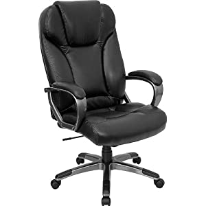 Leather Office Chair - High Back Executive Chair - BT-9066-BK-GG