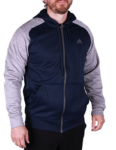 Adidas Mens Tech Fleece Hooded Training Sweatshirt (XXL, Navy/Grey)