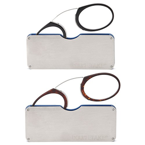 doubletake-2-pairs-of-pince-nez-style-nose-resting-pinching-portable-reading-glasses-with-no-temple-