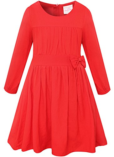 Bonny Billy Girls Long Sleeve Solid Pleated A-Line Children Dress with Bow 7-8 Years Red