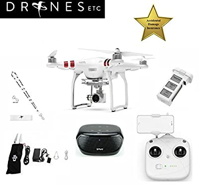 DJI Phantom 3 Standard Quadcopter Drone with 2.7k HD Video Camera Bundle Includes a Free ONVO Wireless Bluetooth 4.0 Speaker + Free Drones Etc. Lanyard!