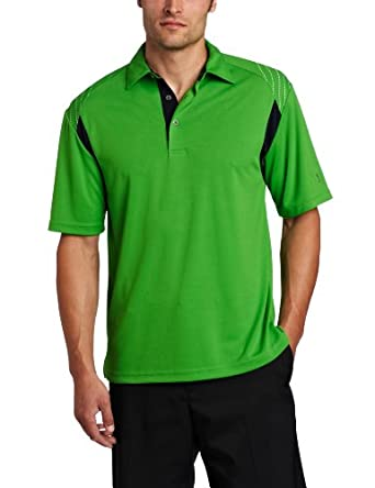 PGA TOUR Men's Short Sleeve Color Block With Reflective Print Self-Collar Polo Shirt, Online Lime, Large
