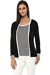 Annabelle by Pantaloons Women's Round Neck Cardigan (205000005619379, Black, X-Large)