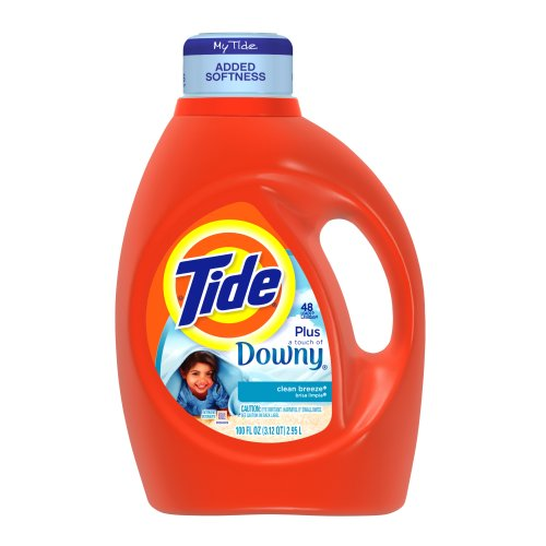 Tide with a Touch of Downy Clean Breeze Scent, 100-ounce Bottles (Pack of 4)