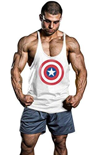 Gillbro Uomo stampati Canottiere Cotone Stringer Bodybuilding Gym canotte,A,L