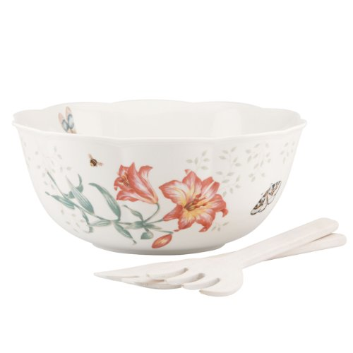 Lenox Butterfly Meadow Salad Bowl with Wood Servers (Lenox Pasta Set compare prices)