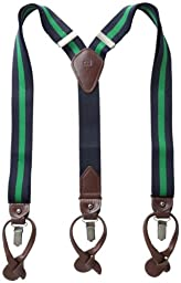 Tommy Hilfiger Men\'s Rugby Stripe Suspenders, Navy/Kelly Green, One Size