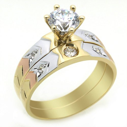 Little Treasures 14 ct Engagement Ring 1.2ctw CZ Cubic Zirconia Solitaire Ring Set Tri-Color Gold Ring