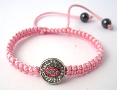 Pink Lace Style Iced Out Eye Bracelet with Beaded Disco Balls Macrame Shamballah