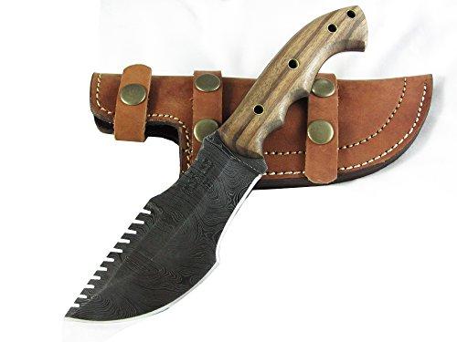 Moorhaus Handmade Custom Random Damascus Walnut Wood Tracker Knife With Serrated Upper Spine