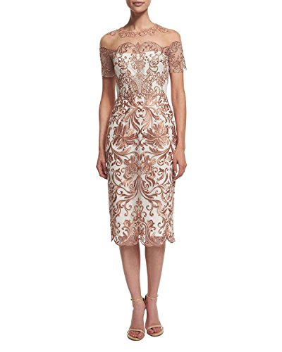 Marchesa Notte Women's Short Sleeve Metallic Embroidered Tulle Dress 8 Ivory/Rose Gold