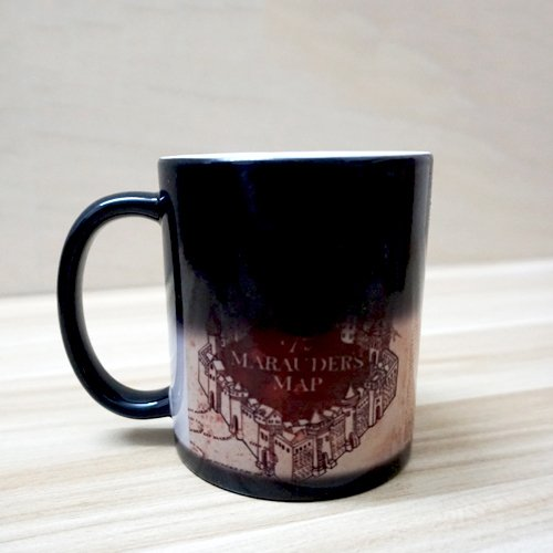 """Tazza termosensibile, nero-""""mappa del malandrino"""" di Harry Potter, tazza magica cambia colore"""