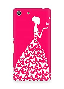 AMEZ designer printed 3d premium high quality back case cover for Sony Xperia M5 (darkish pink red white girl princess)