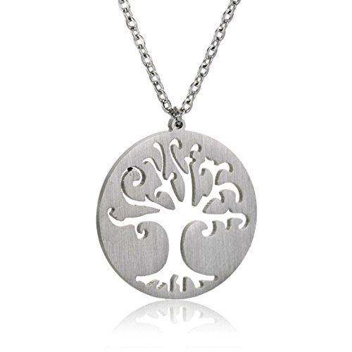 AOLOSHOW relazione dell'amicizia, in acciaio inossidabile, collana e orecchini, Acciaio inossidabile, colore: Life Tree Necklace - Silver, cod. WNL-2615 Silver-RS