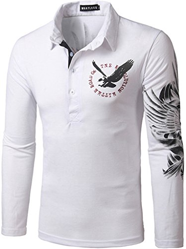What Lees Mens Long Sleeve Contrast Print Button Golf Polo Shirts B103-White-M
