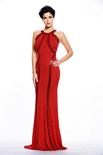 Women's Gorgeous Jersey Sequin Trim Evening Dress Long Gown (Red, Medium)