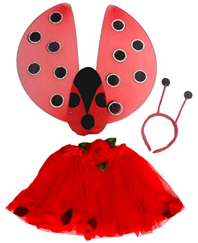 3 Pc Bright Red Lady Bug Set with Red Tutu, Lady Bug Wings and Antenae
