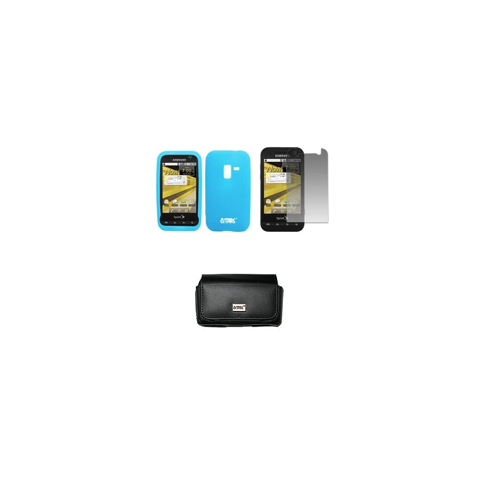 EMPIRE Sprint Samsung Conquer 4G Black Leather Case Pouch with Belt Clip and Belt Loops + Light Blue Silicone Skin Cover Case + Screen Protector [EMPIRE Packaging]