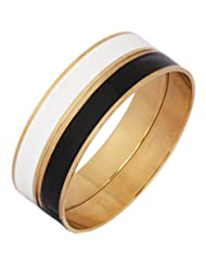 The Jewelbox Solid Surgical Stainless Steel Black & White Enamel 18k Gold Plated Kada Pair For Men