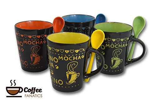 Coffee Mug-Cup Spoon Set of 4 Cafe Style 10 oz. Assorted Multi Color Artisan Made Unique Cups Mugs (Italian Pottery Urn compare prices)