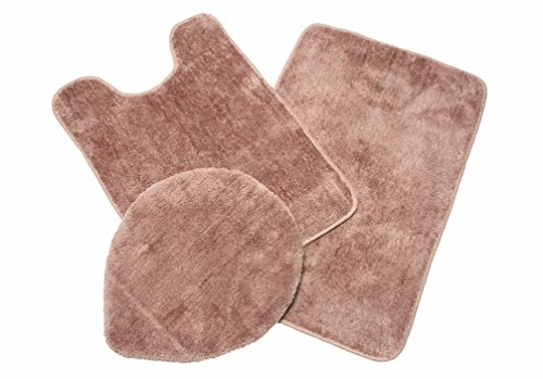J & M Home Fashions 3-Piece Microfiber Bath Rug Set, Sable (Elongated Toilet Lid Cover Brown compare prices)