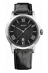 Hugo Boss - 1512429 - Montre Homme - Quartz Analogique - Cadran Noir - Bracelet Cuir Noir