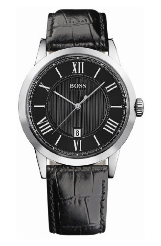 Hugo Boss Gents Stainless Steel Watch with Black Leather Strap