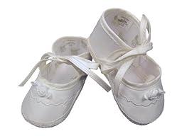 Girls Silk Shoes, White, 2 (3 - 6 mo)