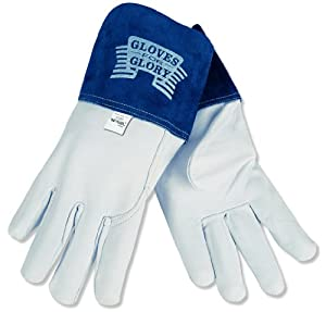 MCR Safety 4850L Gloves for Glory Premium Grain Goatskin MIG/TIG Welder Men's Gloves with Split Cow Gauntlet Cuff, Natural Pearl, Large by MCR Safety