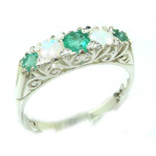 Luxury Solid Sterling Silver Natural Emerald & Opal Victorian Style Eternity Ring - Size 12 - Finger Sizes 5 to 12 Available - Suitable as an Anniversary ring, Engagement ring, Eternity ring, or Promise ring
