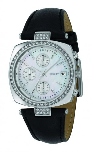 DKNY NY4910 Ladies Chrono White MOP Dial and Black Leather Strap