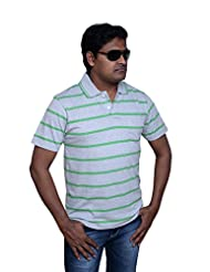 Polo Neck Half Sleeve Casual Stripes T-shirt For Men By ZISTA - B015EQNSA8