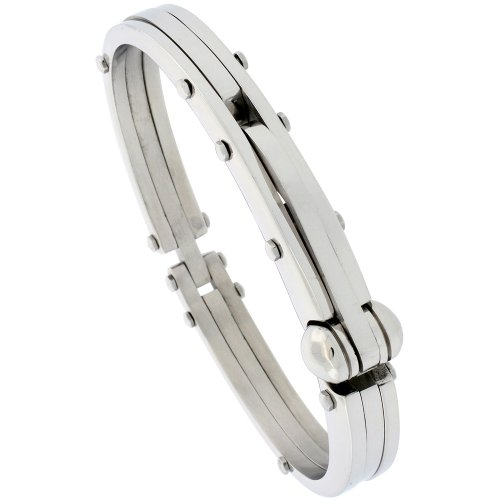 Gent's Stainless Steel Bangle Bracelet, 1/2 inch wide, 8 1/2 inch long