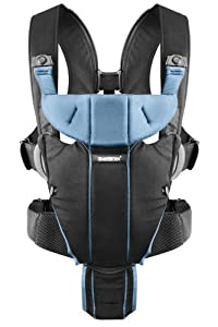 BABYBJORN Baby Carrier Miracle, Black/Light Blue, Cotton Mix (Discontinued by Manufacturer)