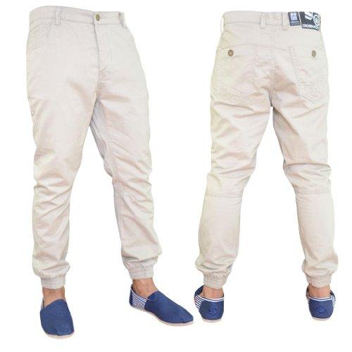 Mens Crosshatch Beige Coloured Denim Jogger Cuffed Leg Jeans 30S