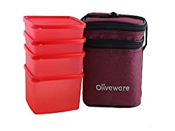 Oliveware New Lunch Bag Set of 4 (LB55 Red)