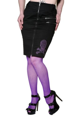 Living Dead Souls Womens CANDY SKULL PENCIL SKIRT- Black- L Image