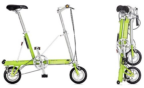 CarryMe USA SD-L Lime Green Bike Single Speed Portable Folding Pedal Bicycle