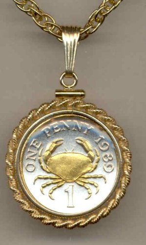 Gorgeous 2-Toned Gold on Silver Guernsey Crab, Coin Necklaces Gorgeous 2-Toned Gold on Silver Gue