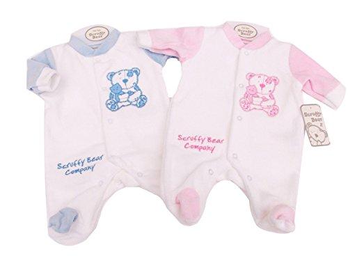 bnwt-prematuro-ninos-o-ninas-scruffy-oso-terciopelo-pijama-3-fibra-de-5-8lb-nb-rosa-azul-talla8-12lb