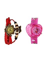 ANALOG KIDS WATCH WITH HELLO KITTY CARTOON PRINTED ON DIAL AND STRAP WITH FREE BROWN WOMAN BRACELET WATCH - B01BF4JTZQ