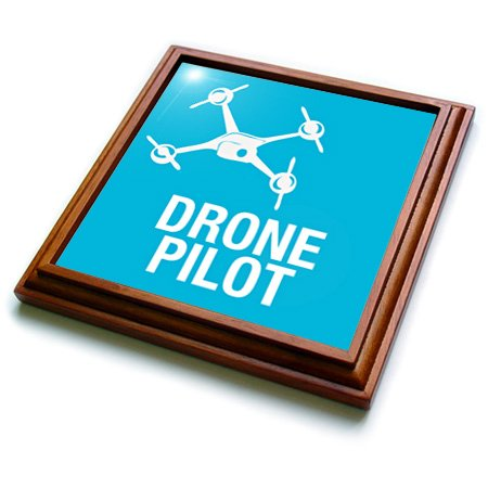Trv_179914_1 Kike Calvo Drone And Unmanned Vehicle Collection - Blue Drone With Uav Pilot - Trivets - 8X8 Trivet With 6X6 Ceramic Tile