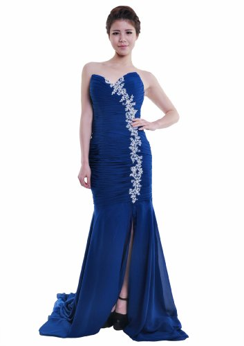 Moonar Chiffon Strapless Sweetheart Straight Prom Formal Gown Party Bridesmaid Wedding Dress Blue Size 4