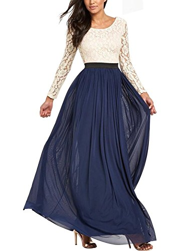 Ssyiz Women's Long Sleeve Lace Floral Chiffon Party Dress Evening Gown (Provide Size,Custom Made Dresses) NavyBlue Small