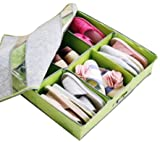 Periea Underbed Shoe Storage Organiser (holds 3-12 pairs) - strong storage box solution with lid - (Green) Sami