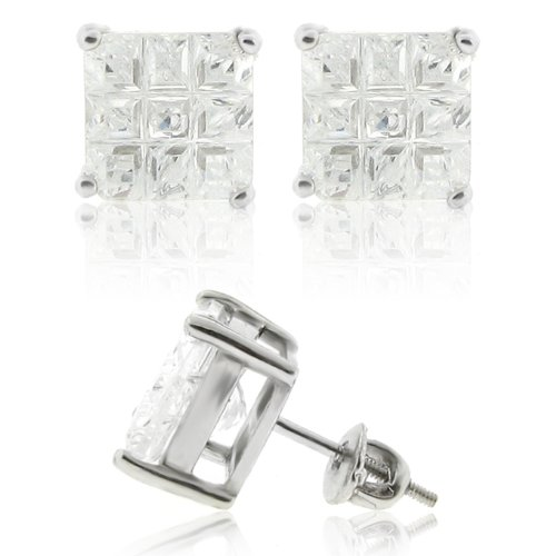 Real Genuine Solid 925 Sterling Silver 9mm Invisible Square Princess Cut 2.75ct Cubic Zirconia Screw Back Stud Earrings